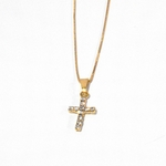 1-2196-1509-f1 18Kt Gold Layered Crystals Cross with Box Chain,