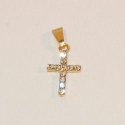 """1-2196-e7 Gold Plated Crystals Cross. 1"""""""