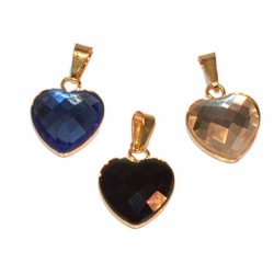 1-2199-e11 Gold Layered Crystal Heart Pendant. 12mm. 3 colors available.