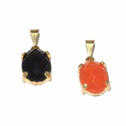 1-2218-f4 18kt Brazilian Gold Layered Pendant with Faceted Stone. Two colors available. 10x16mm.