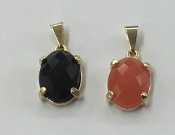 1-2218-f5 Gold layered faceted pendant