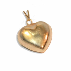 1-2239-e8 Gold Plated Puffed Heart Pendant. 25mm wide.
