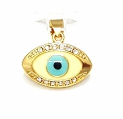 1-2239-f6 18kt Brazilian Gold Plated Evil eye Pendant with Crystals. 20mm.