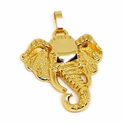 "1-2243-f12 18kt Brazilian Gold Layered 1-1/2"" Elephant Head Pendant. 25mm wide."