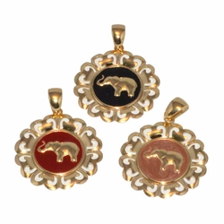 1-2247-D1 Colored Elephant Pendant
