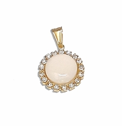 1-2250-f7 18kt Brazilian Gold Layered Pearlescent Pendant with Crystal Accesnts. 17mm.