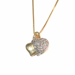 1-2251-1509-f2 18kt Brazilian Gold Layered Two Tone Heart  Pendant with Box Chain,