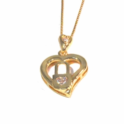 1-2252-1509-f2 18kt Gold Layered CZ Lock Heart Pendant with Box Chain,