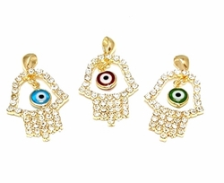 1-2253-f6 18kt Brazilian Gold Layered Crystal Studded Hamsa hand with Evil Eye charm. 1.5 inches.