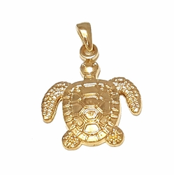 1-2254-f7 18kt Brazilian Gold Layered Sea Turtle Pendant. 28mm wide, 1.75 inch length.