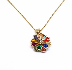 "1-2257-1509-f11 18kt Brazilian Gold Layered Multicolor Flower Necklace. 18"" Box Chain, 16mm pendant."
