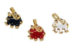 1-2259-f9 18kt Brazilian Gold Layered Colored Elephant Charms. 13mm.