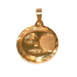 1-2261-e11 Gold Layered Moon Medallion. 20mm.
