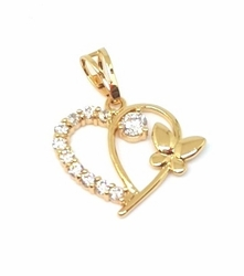 1-2262-1-f5 18kt Brazilian Gold Layered Crystals Heart Butterfly Pendant
