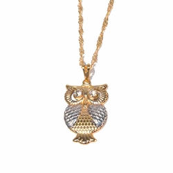 "1-2268-1717-f2 18kt Gold Layered Two Tone Owl Pendant with Singapore Necklace. Owl 1.25 inches tall, 16mm wide, Necklace 16"" or 18"", 2mm wide,"