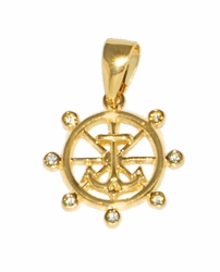 1-2270-D2 Marine Anchor Pendant with CZ's