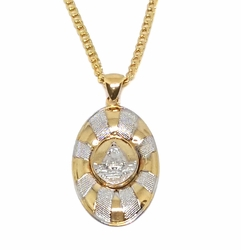 "1-2273-1774-f9 18kt Brazilian Gold Layered Two Tone Caridad Del Cobre Necklace. 24"" Cuban link Chain. Pendant 18mm wide by 1.5 inch tall."