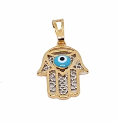 1-2273-f7 18kt Brazilian Gold Layered Two Tone Hamsa with Evil Eye. 16mm wide x 1.25 inch length.