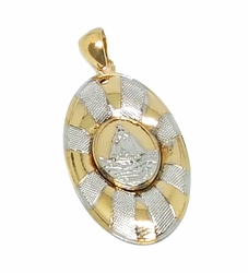 1-2273-f9 18kt Brazilian Gold Layered Two Tone Caridad Del Cobre Pendant. 18mm wide by 1.5 inch tall.