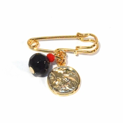 1-2280-f1 18kt Brazilian Gold Layered Azabache y Familia Sagrada Pacifier Pin for Children, 6mm bead, 10mm charm,