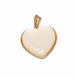 1-2281-f7 18kt Brazilian Gold Layered Pearlescent Heart Pendant. 20mm.