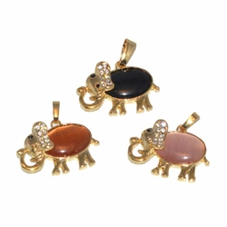 1-2289-D1 Cat Eye Elephant Pendant
