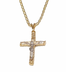 "1-2290-1853-f7 18kt Brazilian Gold Layered Two Tone Crucifix with 24"" Marine Link Chain. Pendant  23mm wide x 1.75 inches tall. Chain is 2.25mm wide."