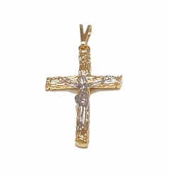 1-2290-f7 18kt Brazilian Gold Layered Two Tone Crucifix Pendant. 23mm wide x 1.75 inches.