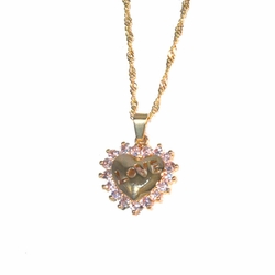 1-2300-1717-f2 18kt Gold Layered Love Heart with CZs, Singapore chain included,