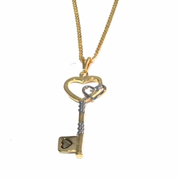 1-2302-1769-f2 18kt Gold Layered Two Tone Key with Heart, Curblink chain included,