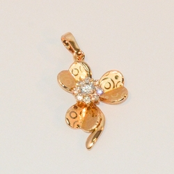 "1-2302-e6 Gold Plated Clover with CZ. 1.25""."