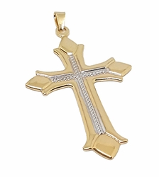 1-2303-f8 18kt Brazilian Gold Layered Two Tone Cross Pendant. 35mm wide by 2.5 inches tall.