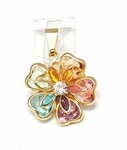 1-2308-f6 18kt Brazilian Gold Layered Multicolor Crystals Flower Pendant. 21mm.