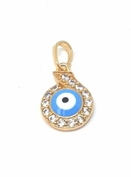 1-2316-f5 18kt Brazilian Gold Layered Small Evil Eye with Crystals Pendant