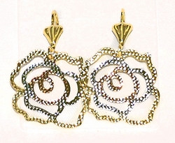 1-2336-D1 Three Tone Flower Earrings
