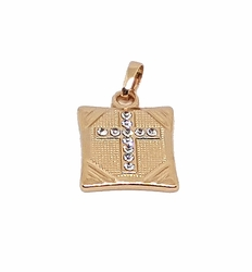 1-2238-f8 18kt Brazilian Gold Layered Cross with Crystals Pendant. 15mm x 17mm.