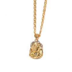 """1-2239-1851-f1 18kt Brazilian Gold Layered Jesus Face with PlatiniumWhite Crown, Marine link Chain included, 14"""" to 24"""" length, 3/4"""" Jesus Face, 2.25mm link,"""