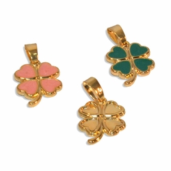 1-2345-e9 Gold Plated Four Leaf Clover pendant. 15mm