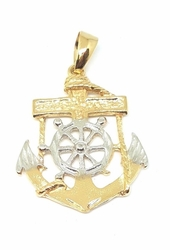 1-2353-f5 18kt Brazilian Gold Layered Two Tone Anchor
