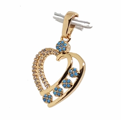 "1-2358-f11 18kt Brazilian Gold Layered 1-1/4"" Heart Pendant with Turquoise Blue Stones. 17mm wide."