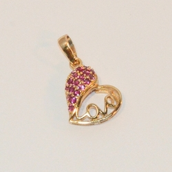 1-2383-e6 Gold Plated Heart with Hot Pink CZs pendant. 1""