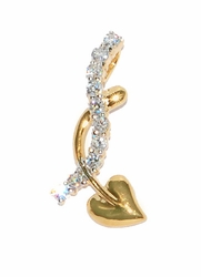 1-2391-D2 Heart and CZ's Slide Charm