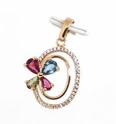 "1-2394-f11 18kt Brazilian Gold Layered 1-1/4"" Multicolor Flower Circular Pendant with CZ's. 15mm wide."