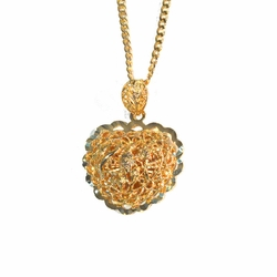 1-2395-1778-f2 18kt gold Layered Filigree Heart with Curblink Chain,