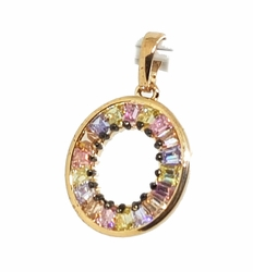 1-2406-f11 18kt Brazilian Gold Layered Multicolor CZ Baguettes Oval Pendant. 16mm.