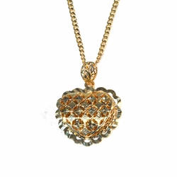 1-2412-1778-f2 18kt gold Layered Filigree Heart with Curblink Chain,