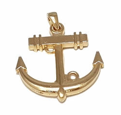 1-2413-f7 18kt Brazilian Gold Layered Anchor Pendant. 40mm wide, 2 inches length.