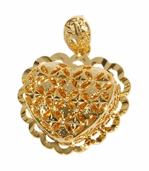 1-2414-D1 Large Filigree Heart Pendant