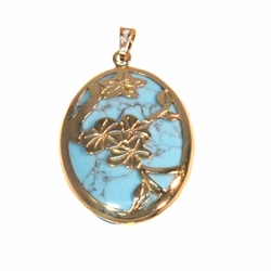 1-2416-f2 18kt Gold Layered Turquoise Stone Pendant with Floral Design.