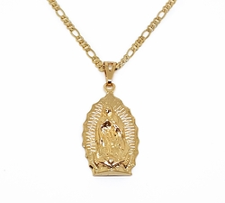 "1-2426-1957-f11 18kt Brazilian Gold Layered Guadalupe Chain Necklace. Pendant 2 inches long. 24"" Figaro Chain, 3.5mm."
